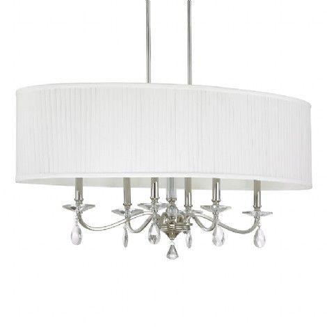 Luminaire chandelier sur tiges suspendu chrome avec accent de luminaire chandelier sur tiges suspendu chrome avec accent de cristaux et abat jour blanc mozeypictures Choice Image