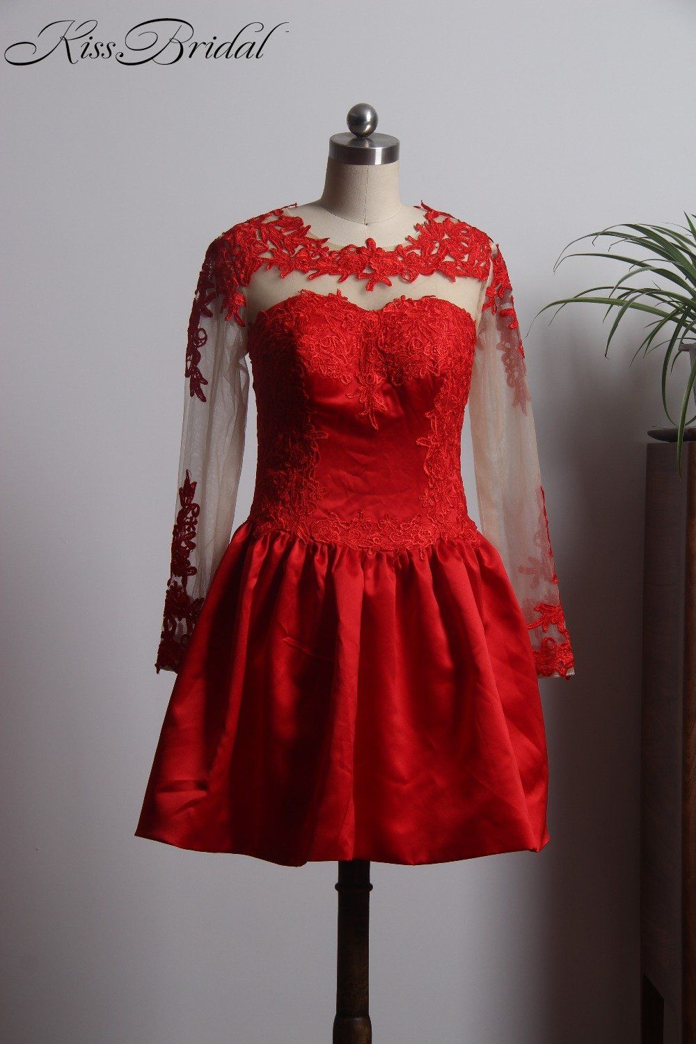 Newest style red prom dresses short long sleeve satin