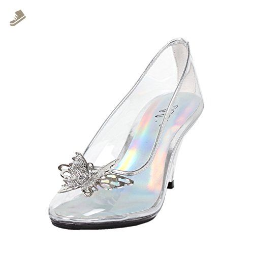 e252ac0de Womens Butterfly High Heels Clear Pumps Silver Trim Costume Shoes 3 Inch  Heels Size: 6 - Summitfashions pumps for wom… | Summitfashions Pumps for  Women ...