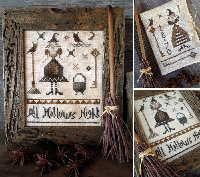 All Hallows Night - PDF Primitive Cross Stitch Pattern. $10.50, via Etsy.