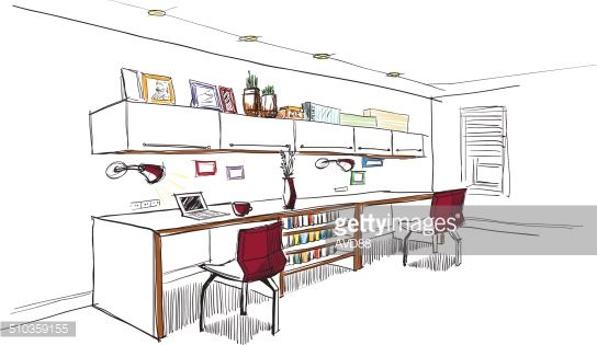 Interior Design Office Sketches home office interior sketch. | interior sketch