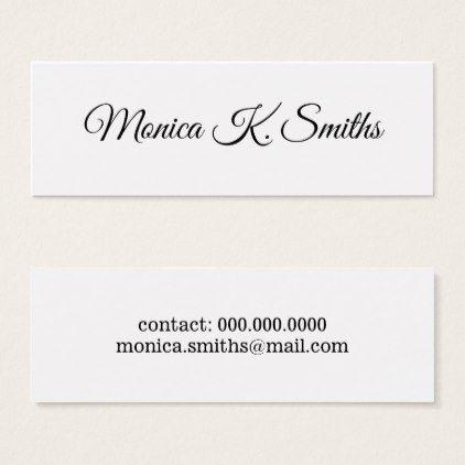 Minimalist Script Font Style Elegant Modern Mini Business Card
