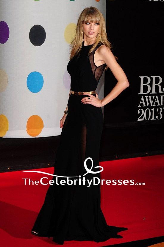 Taylor Swift Black Sheath Prom Dress Brit Awards 2013 TCD7747 ...