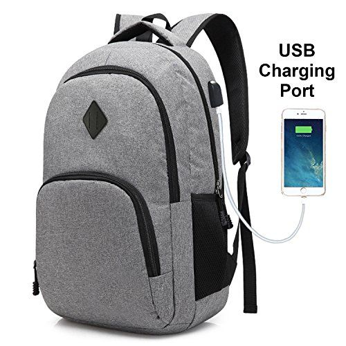 Laptop  College  Backpack  Waterproof  Lightweight  Minimalism with  USB   Charging  Port  Business  School  Book  Bag  Travel  Hiking  Camping   Outdoor ... 584af2249f26b