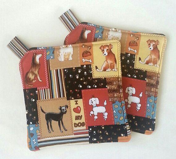 I Love My Dog Potholders Hotpads Set By Kitchenhotpads Hot Pads
