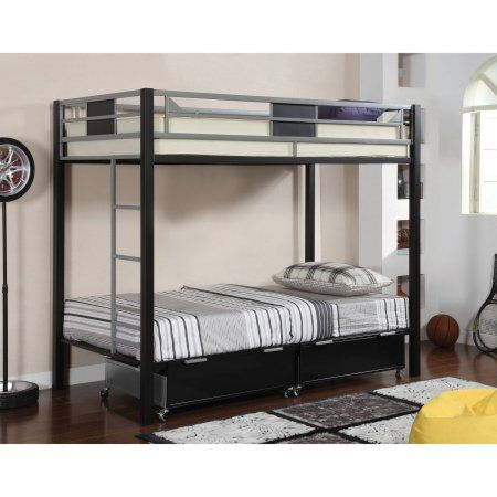 of America Shad Twin Over Twin Bunk Bed, Black & Silver