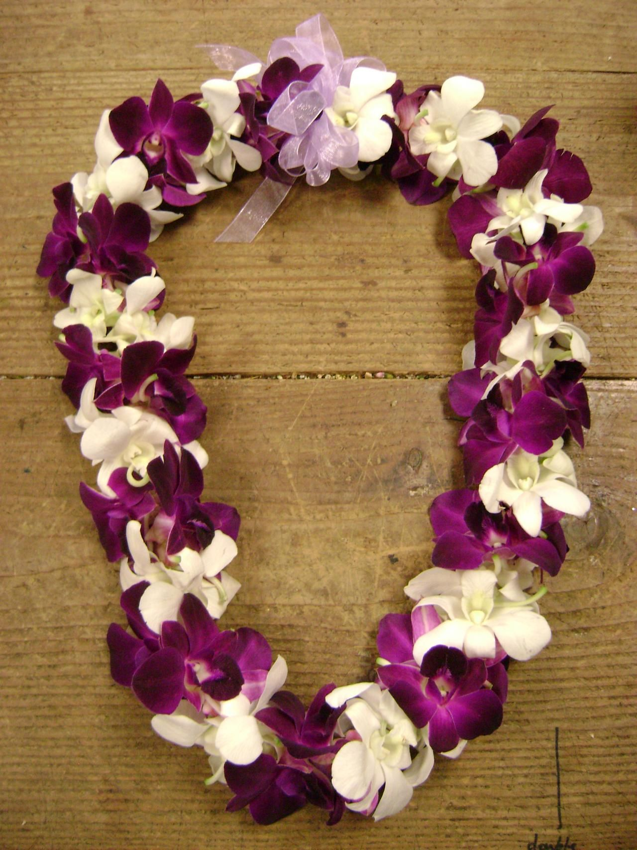 Generous white flower lei images wedding and flowers ispiration 3 white and purple dendrobium orchids leis beautiful leis mightylinksfo Images