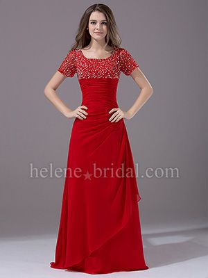 A-Line Scoop Long / Floor-Length Chiffon Elastic Silk-like Satin Mother of The Bride Dress - US$ 159.99 - Style MD7325 - Helene Bridal