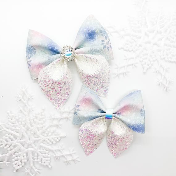 Snowflakes Hair Bow, Pink Blue and White Hair Bow, Pretty Bows, Winter Wonderland Bow, A Frozen Winter Bow, Little Girl Hair Bows