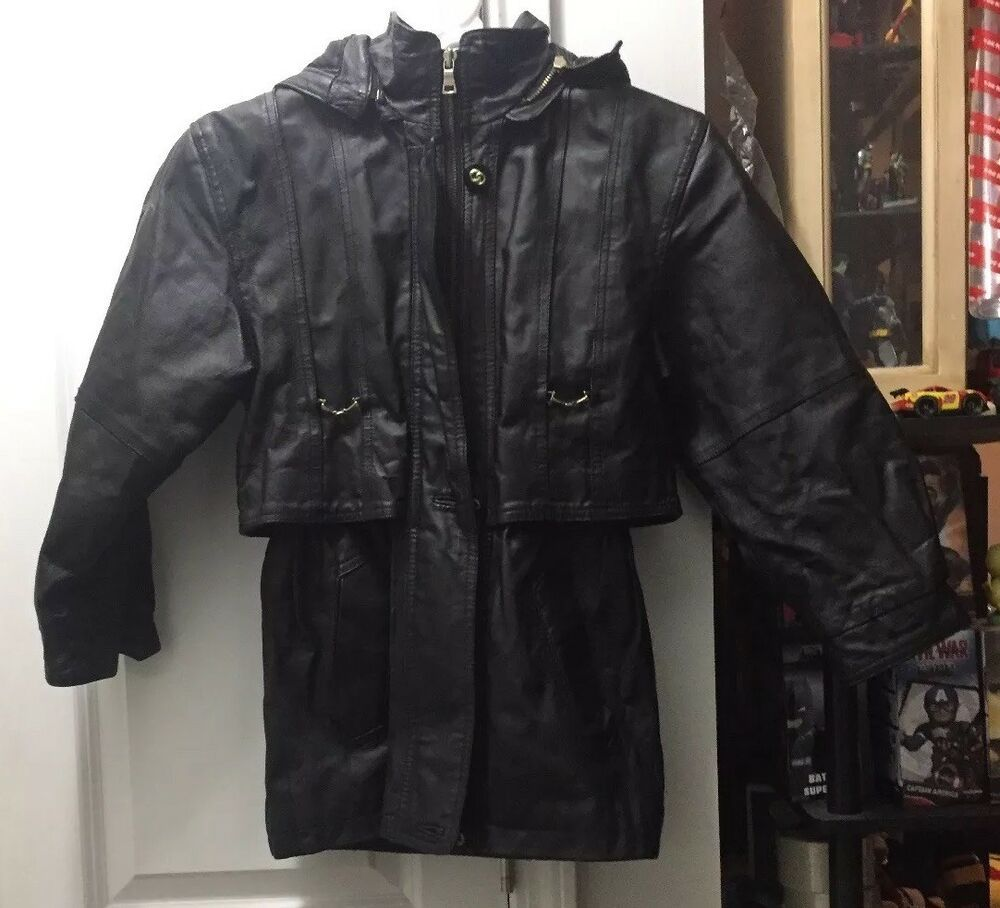 Comint Genuine Leather Hooded Coat Size Small 7 8 Comint Unknown Any Hooded Coat Leather Genuine Leather [ 908 x 1000 Pixel ]