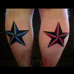 One of the most common colored star tattoos is the red and black ...