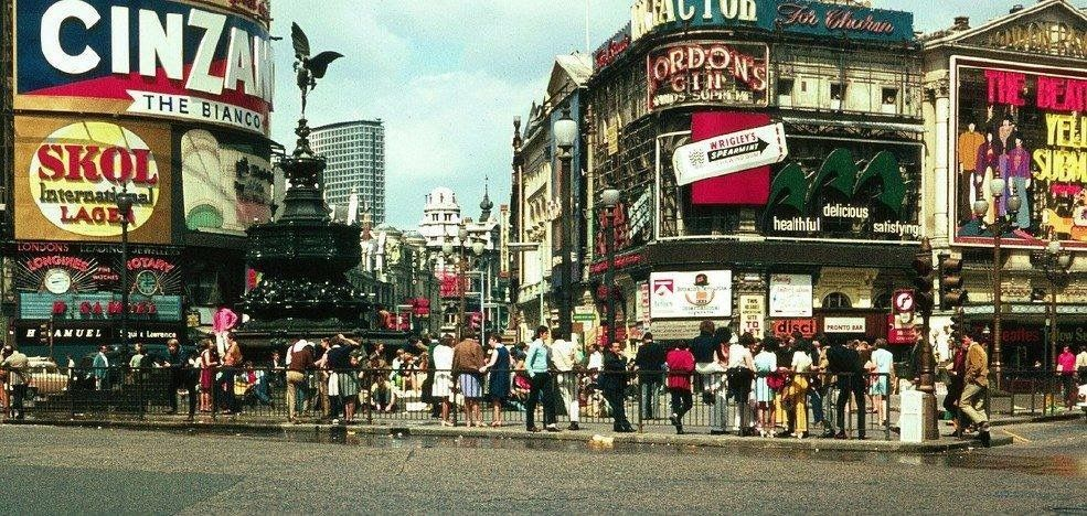 Piccadilly Circus Central London England in 1968