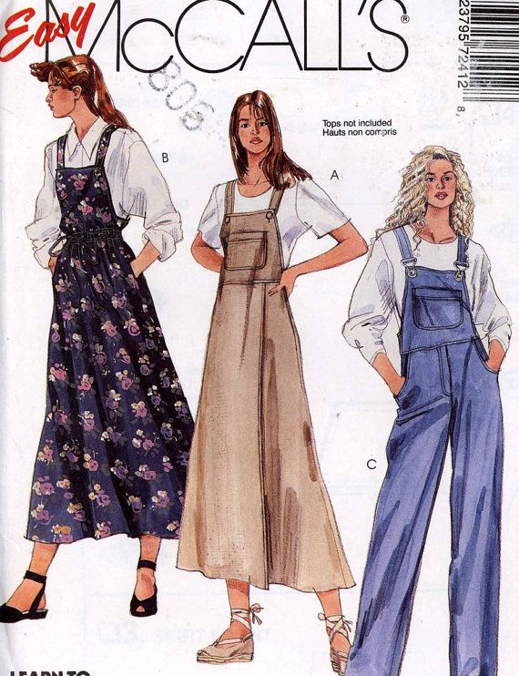 5d72a1fedef6 Womens overalls Pattern Gardening Farming overalls or overalls dress sewing  pattern McCalls 7241 large