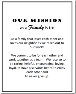 Family Mission Statements  Family    Family Mission