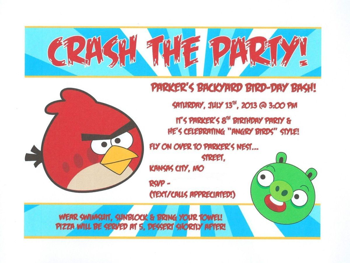 Pinterest Is Such An Awesome Resource Cool FREE Invitations For - Party invitation template: angry birds birthday party invitation template free