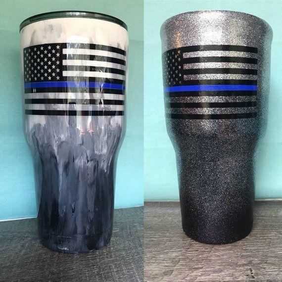 Thin blue line flag police stainless steel tumbler 30oz 20oz 14oz