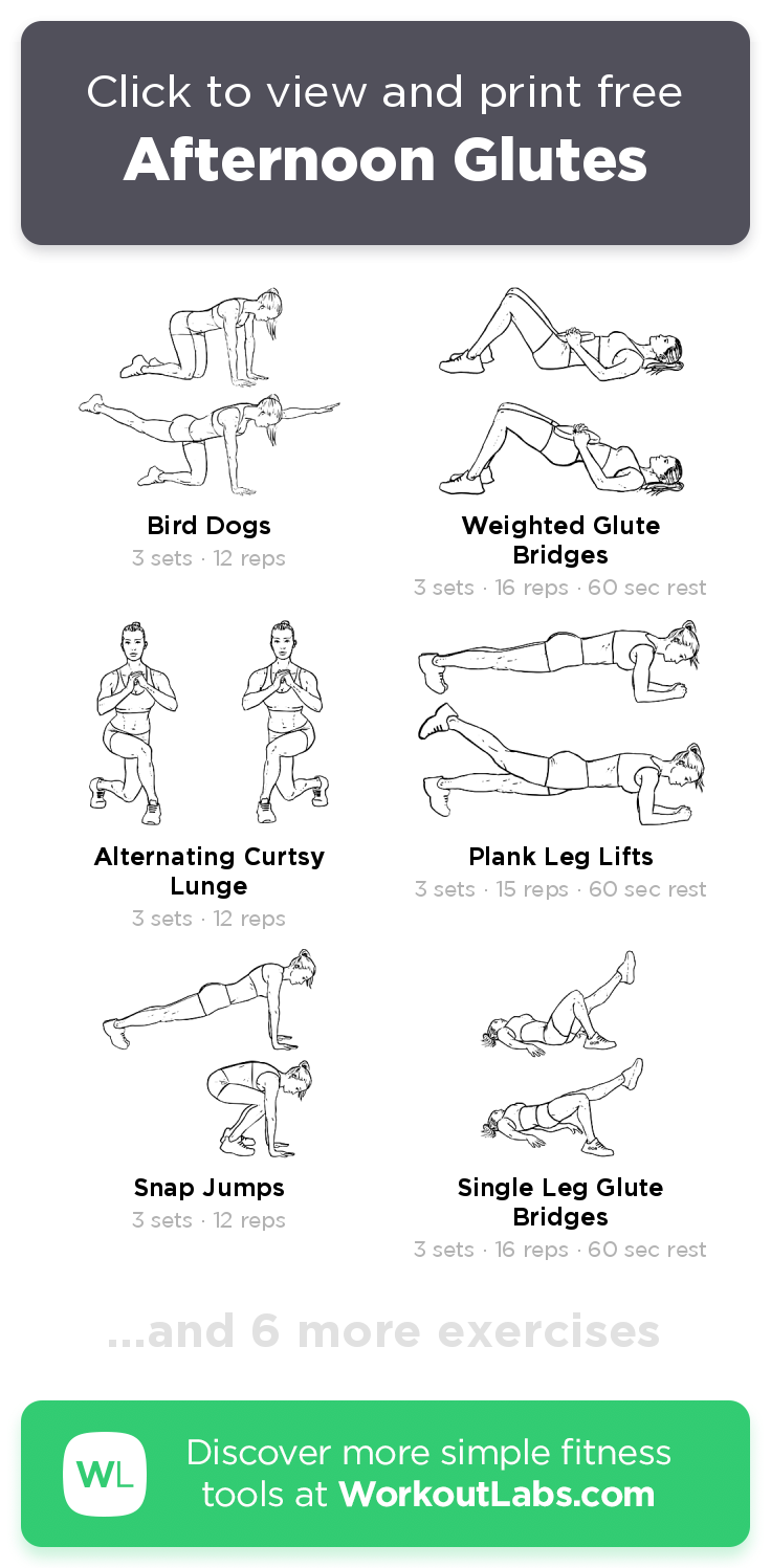 Afternoon Glutes Free 31 Min Glutes Hip Flexors Abs Back Legs Workout Do It Now Or Download As Pdf Browse More Traini In 2020 Workout Labs Glutes Sweat Workout