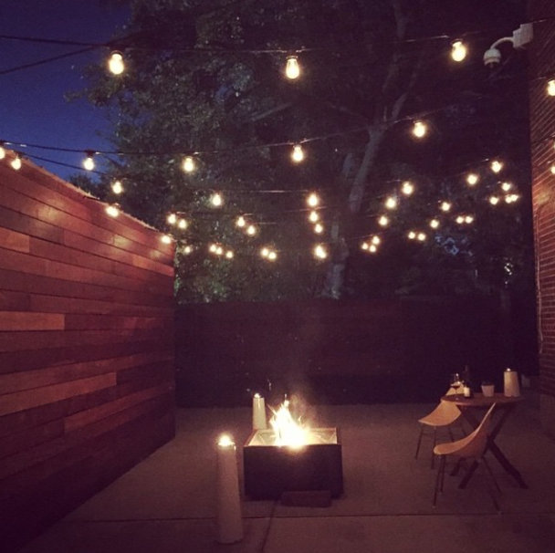String Lights For Fireplace : Cozy backyard with string lights and a fire pit Animals: Chicken Little Pinterest Cozy ...