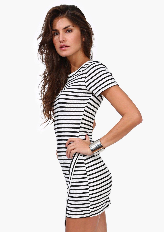 Asymetric Striped Dress