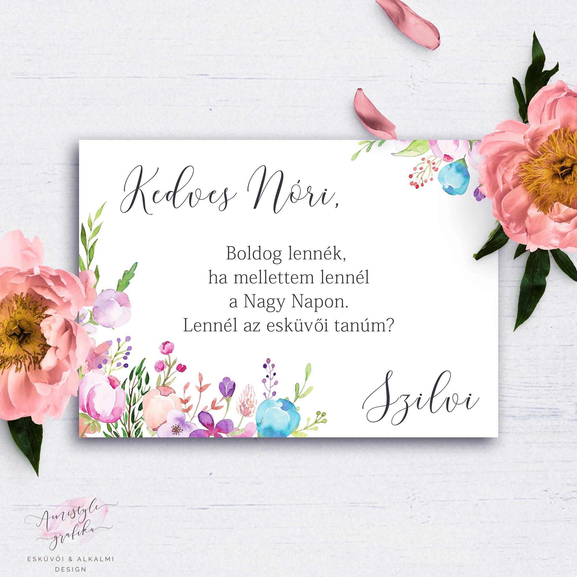3d220a89d9 Színes Festett Virágos Esküvői Tanú Felkérő Kártya - Esküvői Meghívó,  Alkalmi és Családi Grafika Webáruház