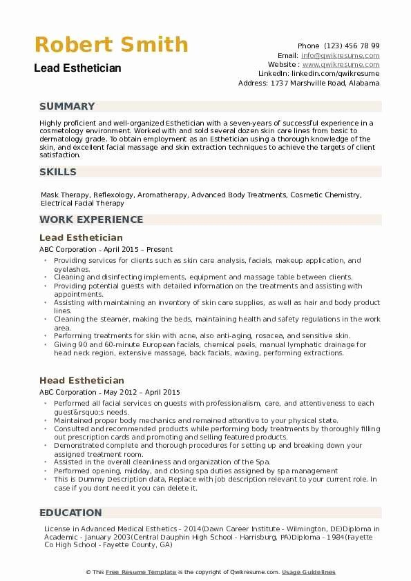 esthetician resume cover letter unique esthetician resume