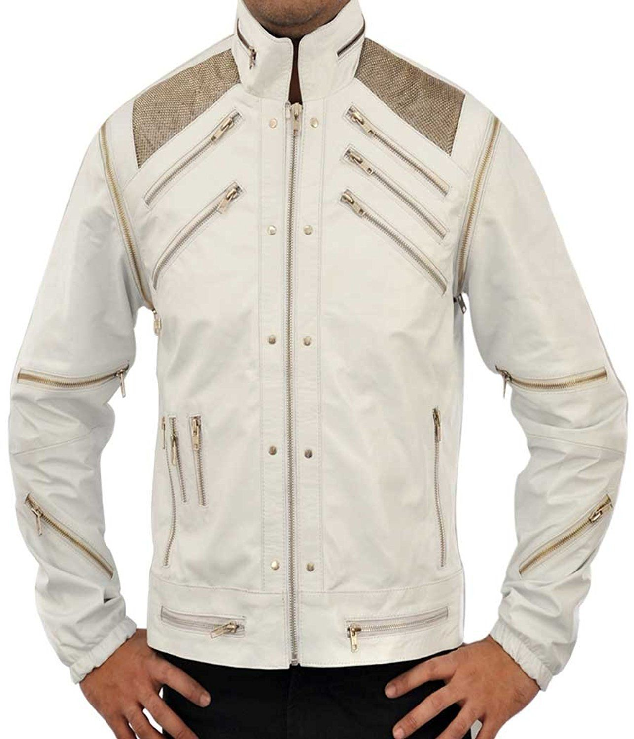 Michael Jackson Beat It White Leather Jacket at Amazon Men's ...
