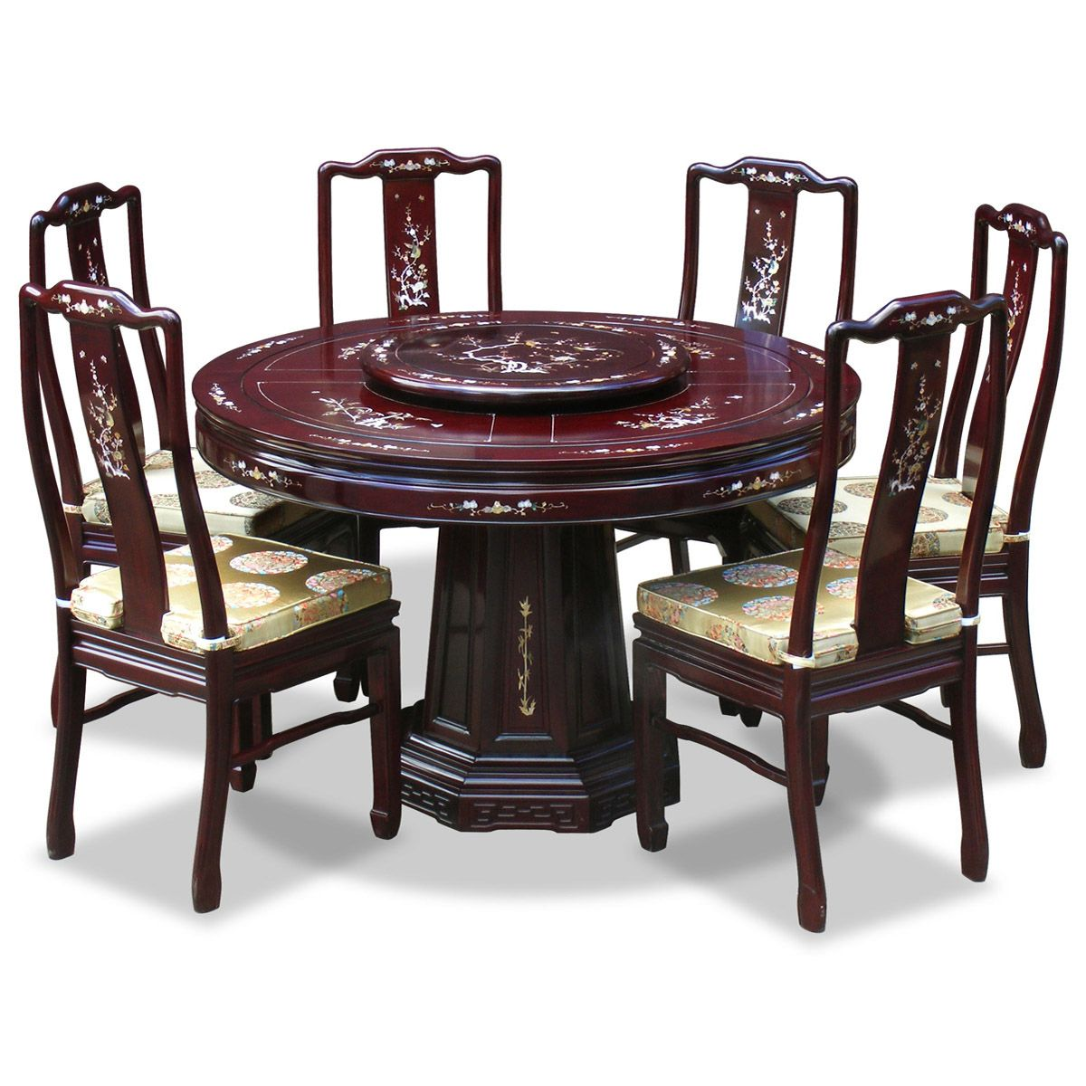 chinese rosewood dining table and chairs striped wingback chair 48in mother of pearl design round
