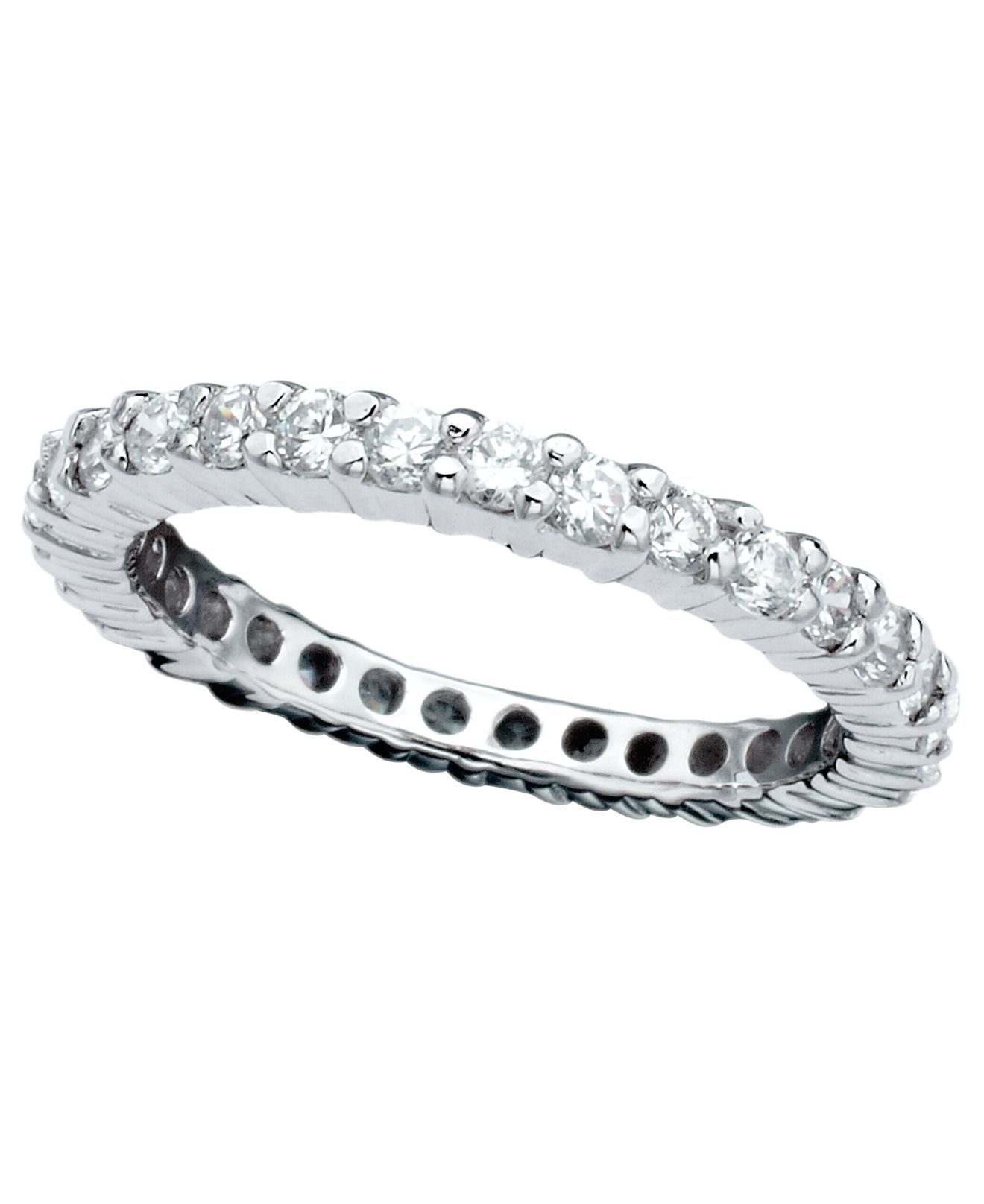 plated row pave band zirconia default eternity ring rhodium silver cubic bands sterling