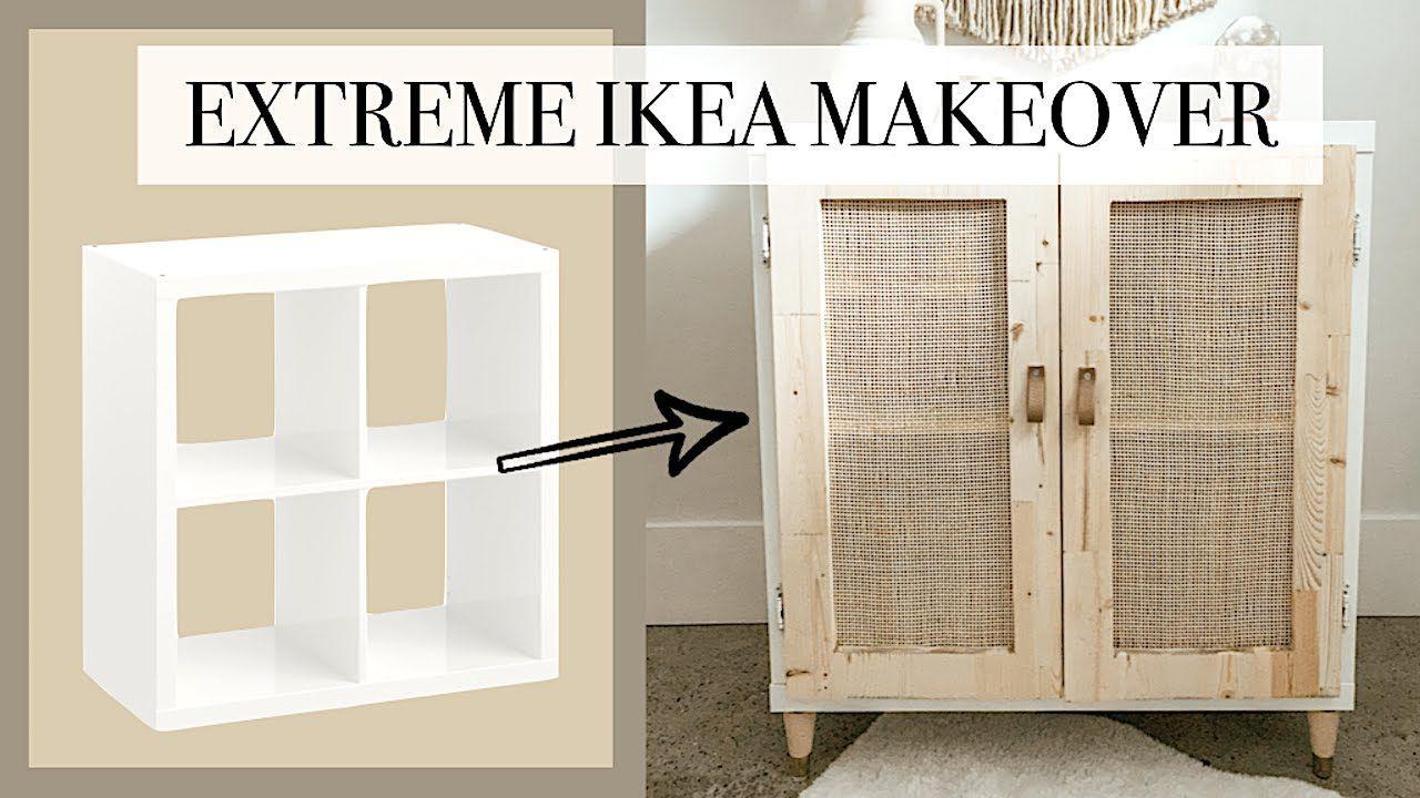 Extreme Ikea Makeover [Ikea Kallax Caning DIY]   YouTube   Ikea ...