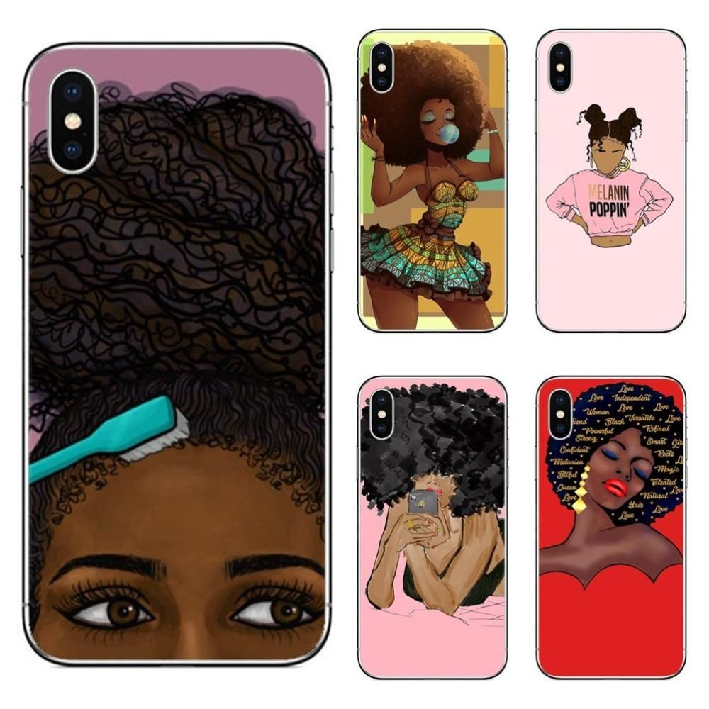 new style 4dfd6 187fe Fashion Africa Black Girl Hard PC Phone Case For iPhone 7 XR XS Max ...