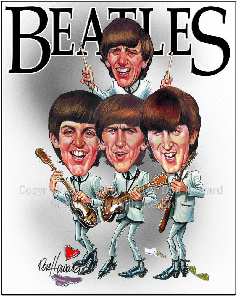 The Beatles Limited Cartoon Caricature Picture Poster Art Print By Don Howard Caricature The Beatles Celebrity Caricatures