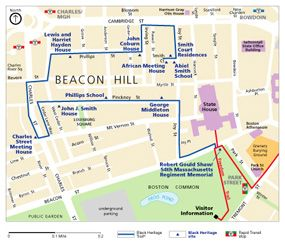 Boston Map Historical Sites.Black Heritage Trail Map Boston Things To Do Pinterest Trail