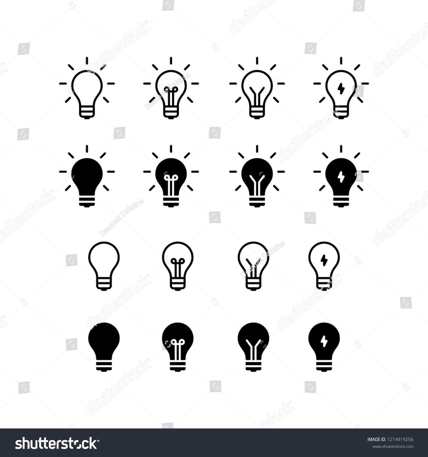 Idea Icon Design Idea Creativity Inspiration Light Bulb Innovation Icon Logo Vector Symbol Set Sign Design Light Bulb Icon Light Art Light Bulb