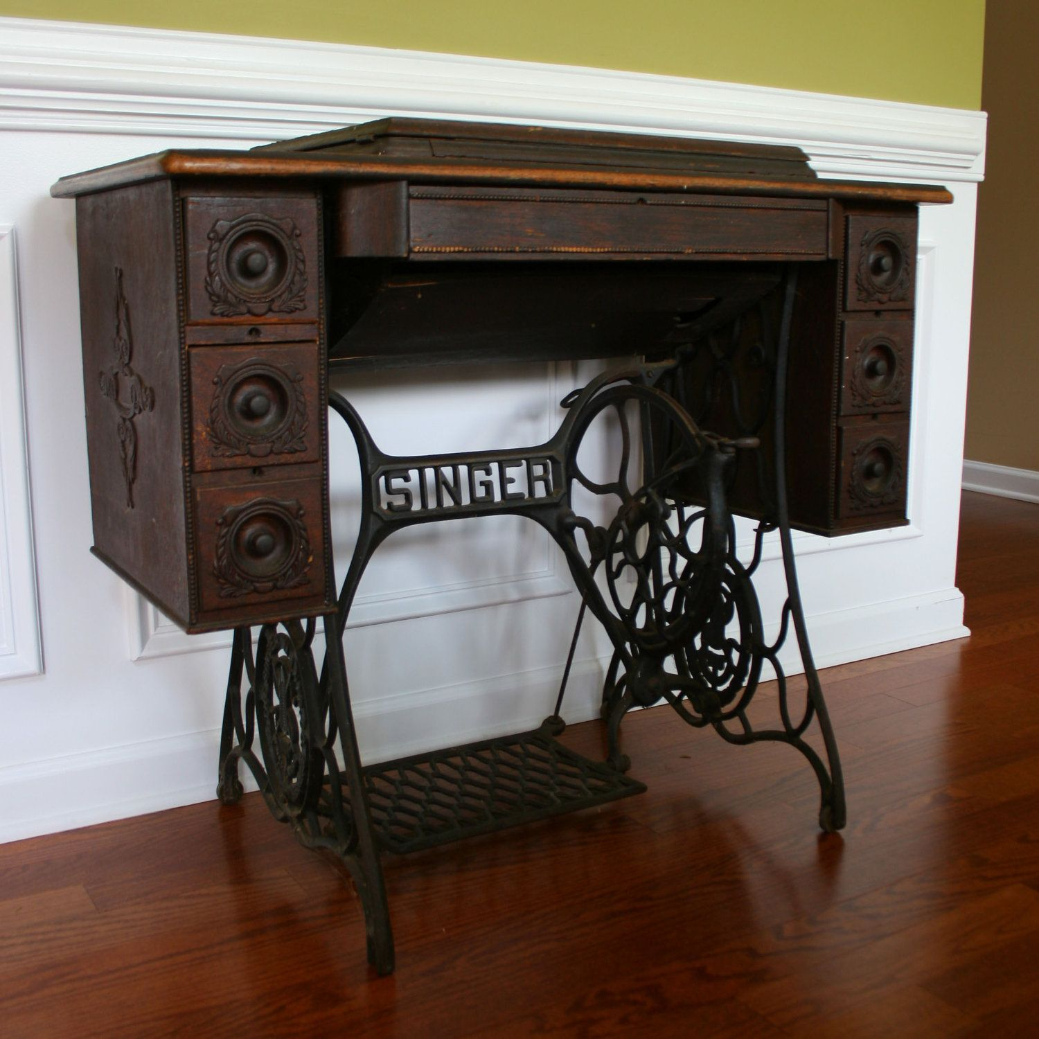 Vintage Singer Treadle Sewing Machine Table RESERVED FOR DANIELLE