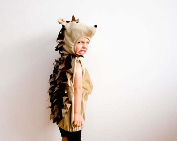 Halloween Costume, Hedgehog Costume, Party Porcupine Costume in beige and brown, Halloween Costume for Boys or Girls