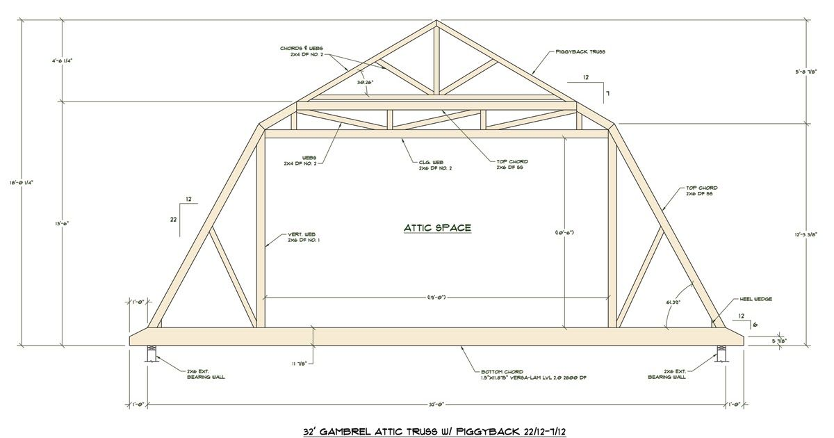 Medeek Design Inc Truss Gallery Garage Plans 3 Car With Attic Truss Loft 1208 1b 32 10 X 26 Three Car By Behm Desig In 2020 Attic Truss Roof Truss Design Roof Trusses