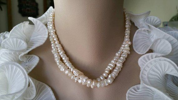 Two Strand Beautiful Ivory White Freshwater Pearl Necklace
