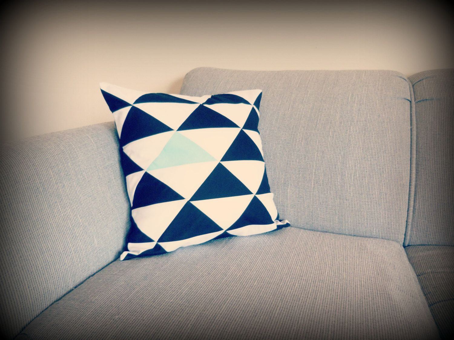 X inches geometric triangle pillow cover black and white