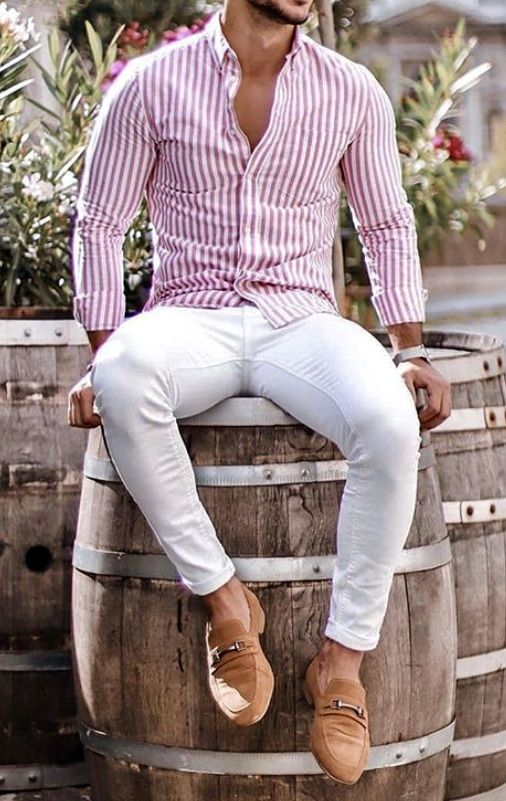 What a great men's summer outfit idea! Pink and white slim