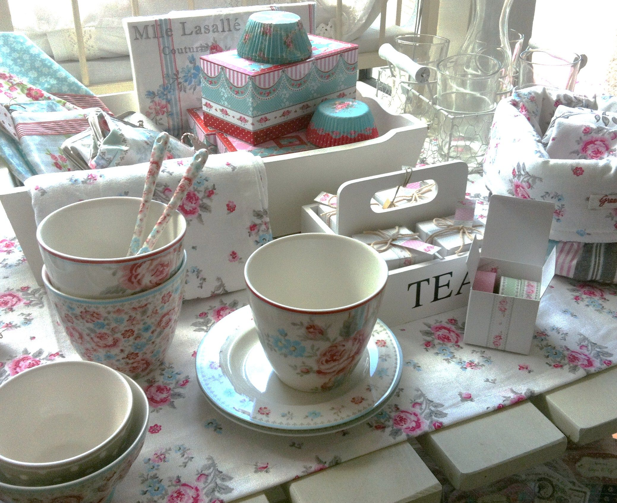 New Green Gate Latte Cups, Bread Baskets, Tea Towels, Napkins ...