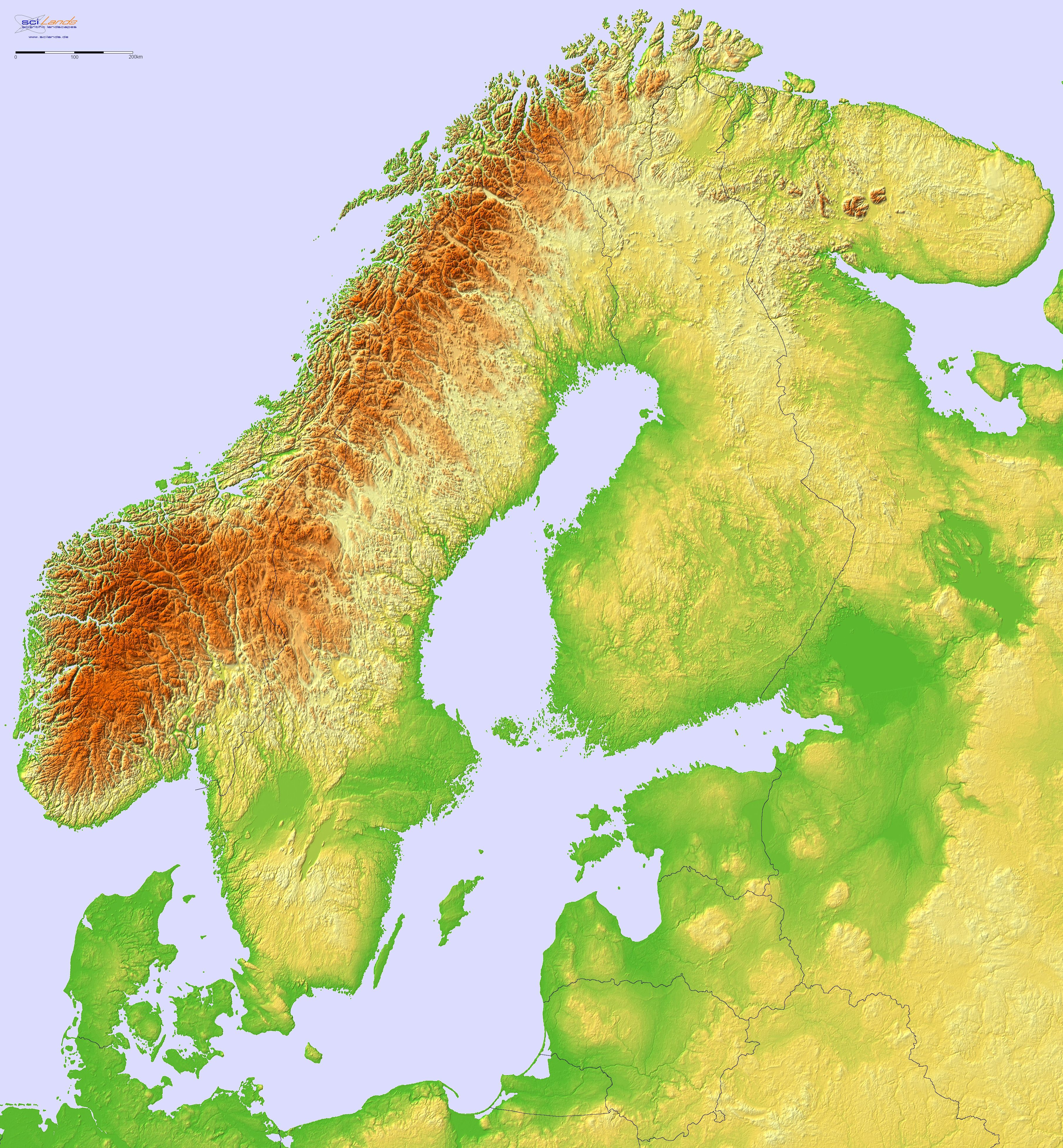 Norway Sweden Finland Estonia Lithuania Latvia Relief Map Cartography Historical Maps