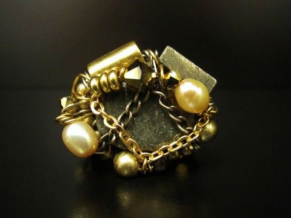 Pyrite & Gold Ring   Hand Wired  Meteor Ring door SharonaNissan, $65.00