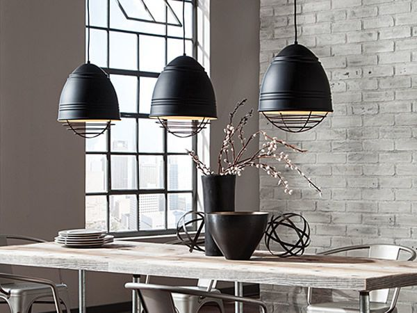 Urban Dining Room With LBL Loft Line Voltage Pendants