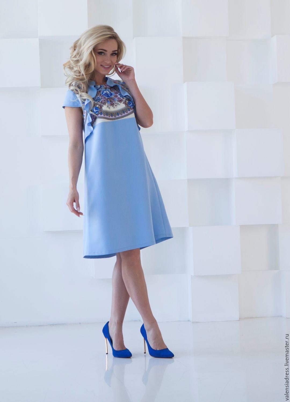 aebfbddcc202b69 Купить Летнее платье, голубое платье колокольчик - цветочный, платье летнее,  платье голубое