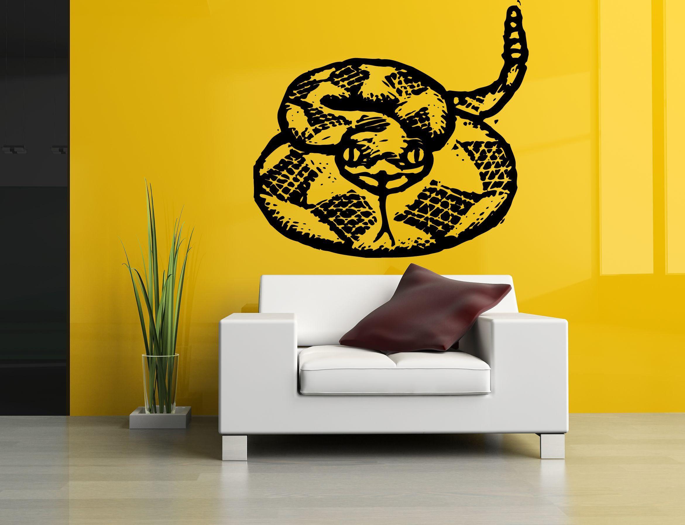 Wall Room Decor Art Vinyl Sticker Mural Decal Snake Rattlesnake Big ...