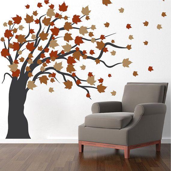 Autumn Spring Tree Wall Decal Autumn Tree Wall Vinyl Mural