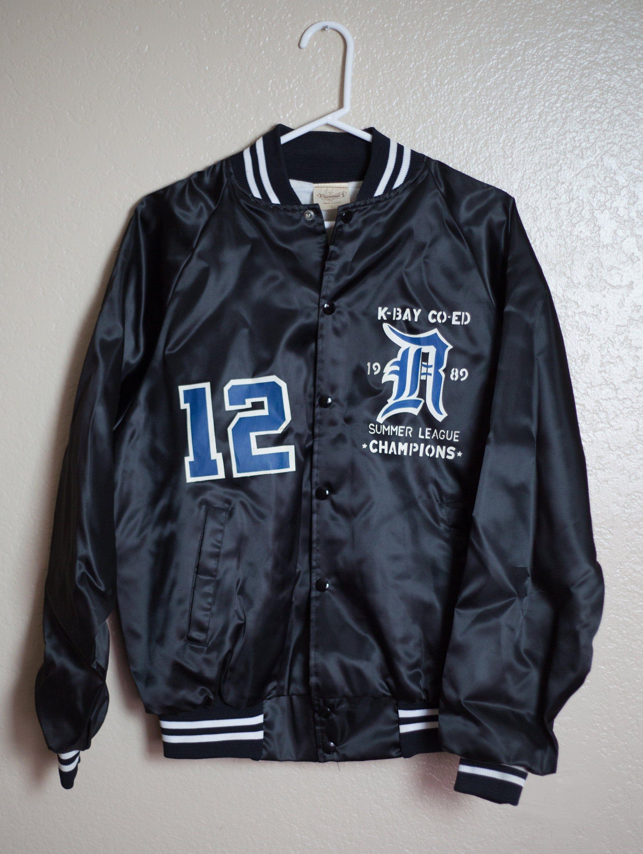 Vintage 90s Satin Black Baseball Bomber Style Warm Up Jacket Etsy In 2020 Baseball Jacket Women Jackets Coach Jacket