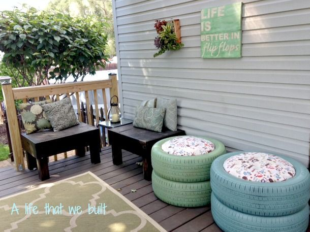 What a cute idea for adding a great pop of color to your backyard!
