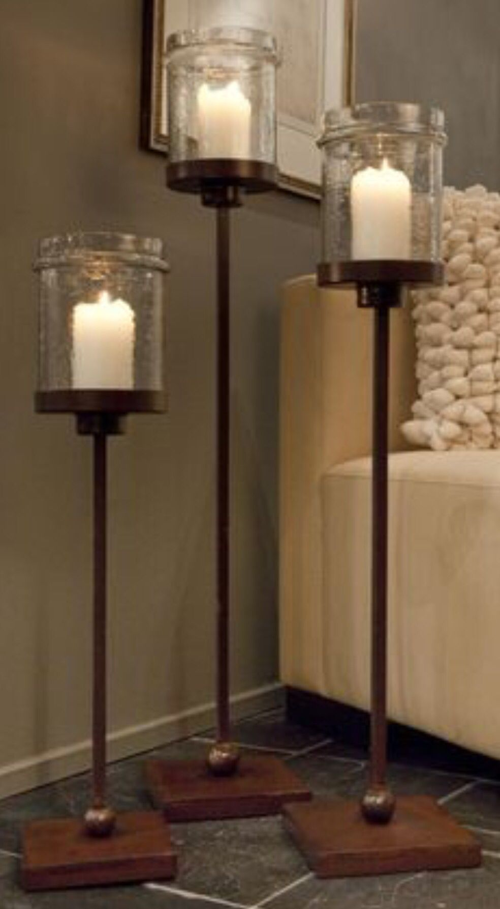 64a417d018a50 Wood Metal Glass Trio. Wood Metal Glass Trio Floor Candle Holders Tall ...