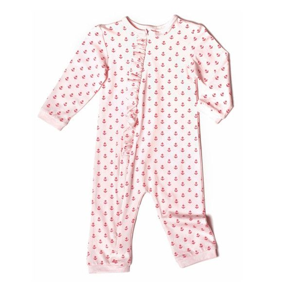 This adorable anchor print romper with ruffled detailing keeps her looking chic for playtime or bed time. The Zip front makes this an easy to wear (and ...